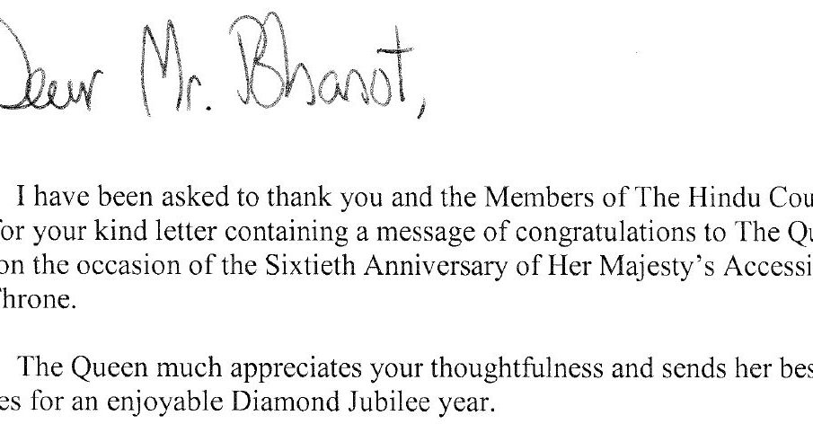 Hindu Council UK Letter received from Her Majesty The Queen‏