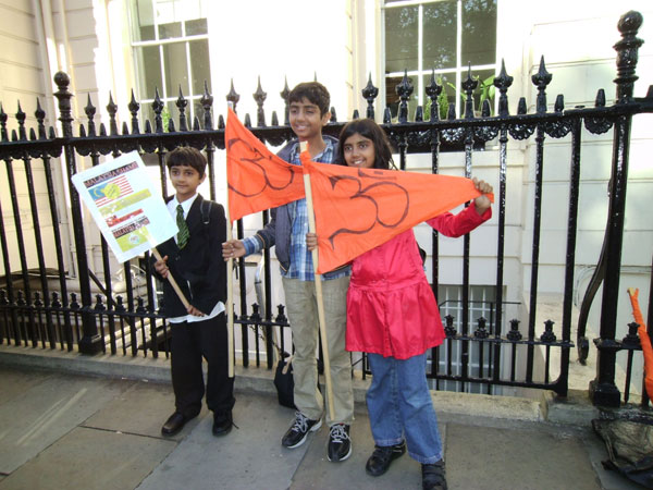 A Marathon Hindu Solidarity protests Rally at five places in London supported by Hindu Council UK