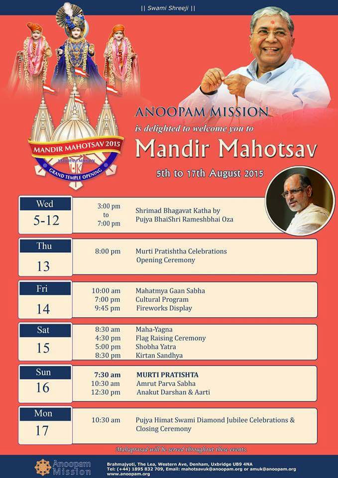 """INVITATION: Anoopam Mission Mandir Mohatsav - 5th till 17th August 2015"""