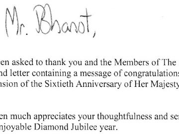 Hindu Council UK Letter received from Her Majesty The Queen
