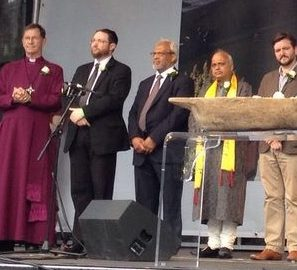 Umesh C Sharma, Co-Chair of Hindu Council UK pays tribute to the LATE Jo Cox MP at the Memorial event at Trafalgar Square London